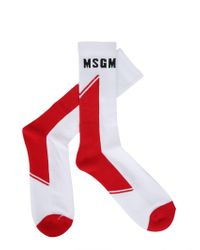 MSGM - Cotton Blend Socks With Logo - Lyst