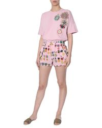Mr & Mrs Italy Crêpe De Chine Shorts With Medal Print - Pink