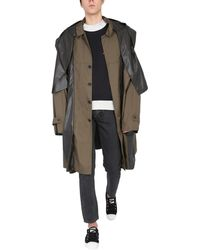 Ambush Oversize Fit Parka With Contrasting Panel - Green