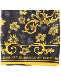 Versace Jeans Couture Printed Silk Scarf With Logo - Black