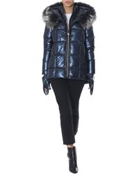 "Rudsak ""takada"" Down Jacket With Fur Edged Hood - Blue"