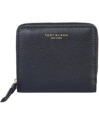 Tory Burch Medium Perry Hammered Leather Wallet - Black