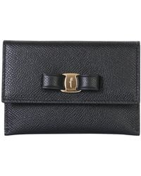 Ferragamo Hammered Leather Wallet With Vara Bow - Black