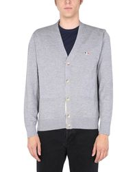 Maison Kitsuné V-neck Wool Cardigan With Tricolour Fox Patch - Grey