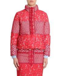 Boutique Moschino Short Down Jacket With Lace Patchwork - Red