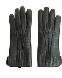 Tru Trussardi Lined Printed Nappa Gloves - Gray