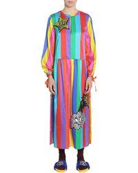 Mira Mikati Abito Arcobaleno In Misto Seta Con Applicazioni Con Paillettes - Multicolour
