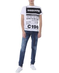 DSquared² Slim Fit Cotton Denim Jeans With Embroidered Logo - Blue