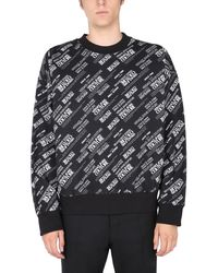 Versace Jeans Couture Crew Neck Cotton Sweatshirt With Heavy Print Warranty All Over Print - Black