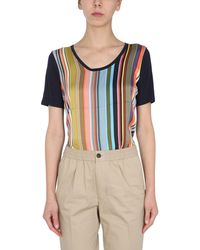 """PS by Paul Smith - V-neck Mixed Modal T-shirt With """"super Stripe"""" Print - Lyst"""