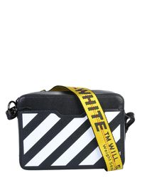 Off-White c/o Virgil Abloh Leather Crossbody Bag With Logo - Black