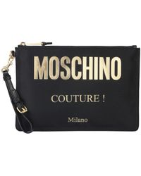 Moschino Technical Fabric Clutch With Logo Print - Black