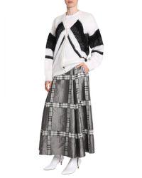 Alberta Ferretti V Collar Mohair Cardigan With Lurex Intarsia - White