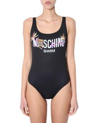 Moschino - One-piece Swimsuit With Logo And Bear Print - Lyst