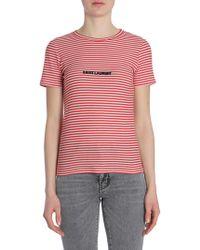 Saint Laurent - T-shirt In Cotone A Righe Con Logo Jacquard - Lyst
