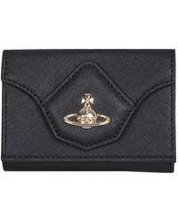 Vivienne Westwood Victoria Leather Wallet With Logo - Black