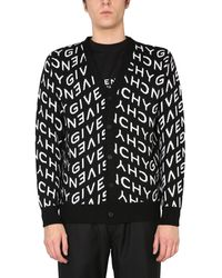 Givenchy CARDIGAN IN JACQUARD DI LANA CON LOGO REFRACTED ALL OVER - Nero