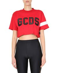 Gcds Cropped Cotton T-shirt With Logo - Red
