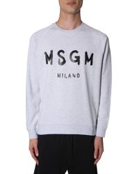 6f3ae79718 MSGM - Cotton Crew Neck Sweatshirt With Printed Brushed Logo - Lyst