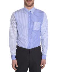 Wooster + Lardini Striped Patchwork Shirt - Blue