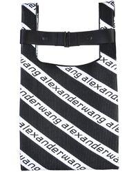 Alexander Wang Medium Knit Shopping Bag With Diagonal Logo - Black