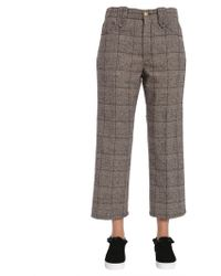 Marc Jacobs Cropped Check Wool Tweed Trousers - Grey