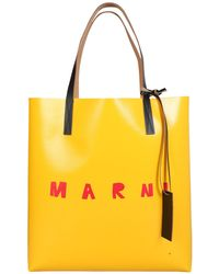 Marni Shopping Bag With Logo - Yellow