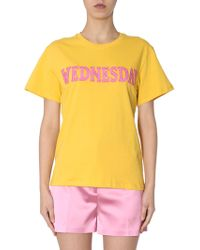 "Alberta Ferretti - Cotton T-shirt With ""wednesday"" Embroidery - Lyst"