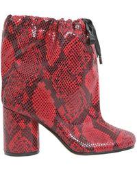 Maison Margiela Python Print Oversize Ankle Boots - Red