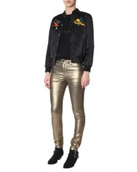 "Saint Laurent Teddy Satin Jacket With Embroidered ""love 1983"" - Black"
