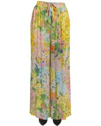 Boutique Moschino - Flower Printed Wide Georgette Trousers - Lyst