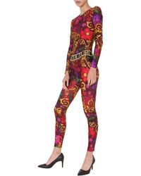 Versace Jeans Couture Long Sleeve Body With Floral Baroque Print - Red