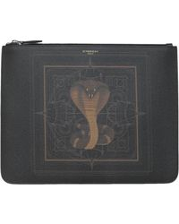 Givenchy - Coated Canvas Classic Medium Pouch With Cobra Print - Lyst