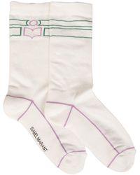 Isabel Marant Vilyna Cotton Socks With Logo - White