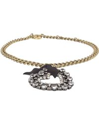 Lanvin Small Necklace With Gros Grain Heart - Metallic