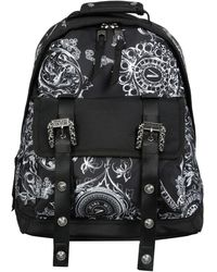 Versace Jeans Couture Baroque Print Backpack With Logo Buckles - Black