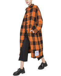 McQ Long Checked Coat - Orange