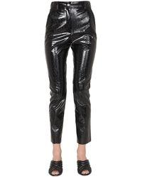 MSGM Faux Leather Pants - Black