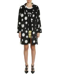 Boutique Moschino Long Polka Dots Velour Coat - Black