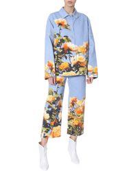 MSGM Floral-print Deim Jeans - Blue