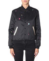 Saint Laurent Logo Print Varsity Jacket - Black