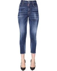 DSquared² TWIGGY Fit High Waist Cropped Jeans - Blue