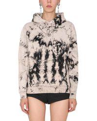 Saint Laurent Cotton Sweatshirt With Tie Dye Print And Logo - Multicolour