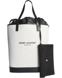 Saint Laurent Teddy Shopping Bag In Linen And Leather - White