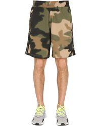 adidas Originals Fleece Shorts With Camoflauge Print - Green