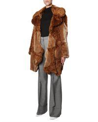 Stella McCartney Coat Of Faux Fur Patchwork - Green