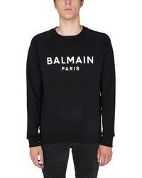 Balmain Cotton Sweatshirt With Logo Print - Black