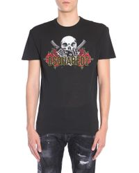 DSquared² - T-SHIRT GIROCOLLO IN COTONE LONG COOL FIT CON STAMPA SKULL - Lyst