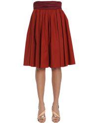 Paule Ka - Pleated Skirt In Stretch Cotton Poplin - Lyst