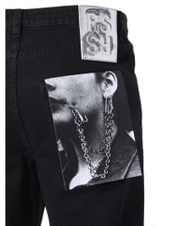 Raf Simons Denim Shorts With Patch - Black